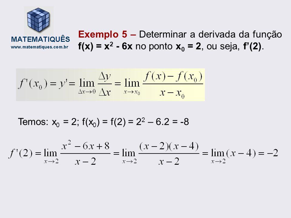 Exemplo 5 – Determinar a derivada da função f(x) = x2 - 6x no ponto x0 = 2, ou seja, f'(2).