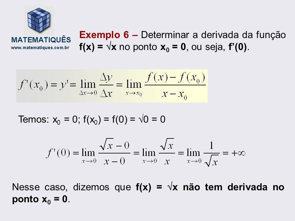 Exemplo 6 – Determinar a derivada da função f(x) = x no ponto x0 = 0, ou seja, f'(0).