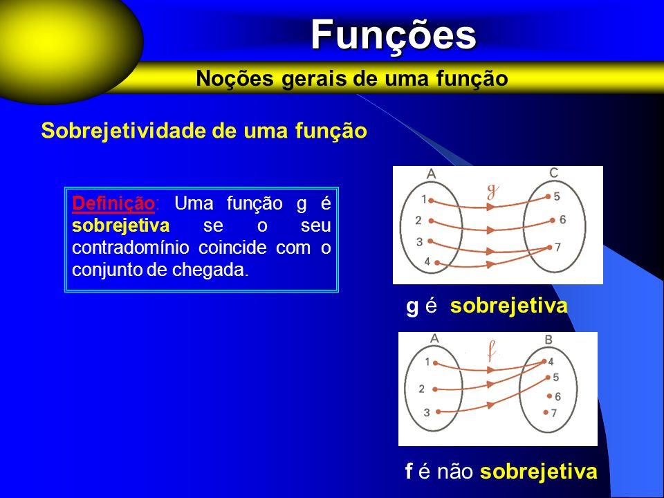 Funções Noções gerais de uma função Sobrejetividade de uma função
