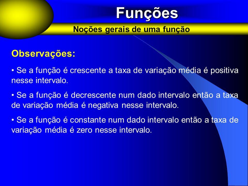 Funções Observações: Noções gerais de uma função
