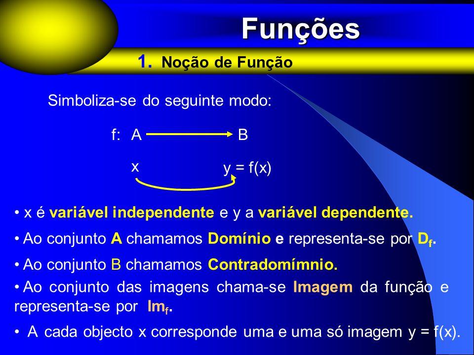 Funções 1. Noção de Função Simboliza-se do seguinte modo: f: A B x