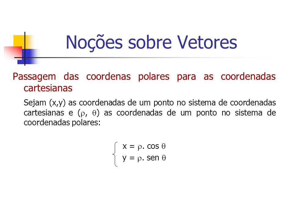 Noções sobre VetoresPassagem das coordenas polares para as coordenadas cartesianas.