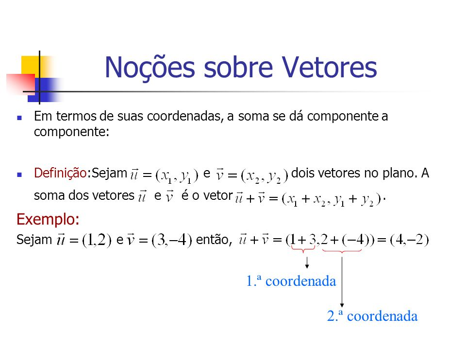 Noções sobre Vetores Exemplo: 1.ª coordenada 2.ª coordenada