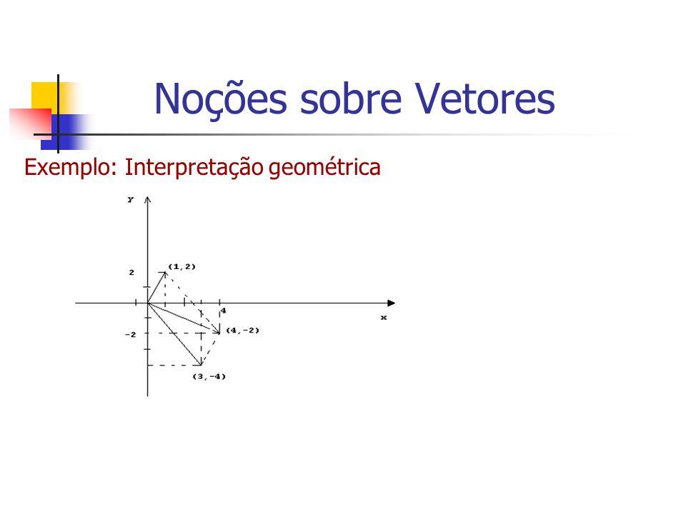 Noções sobre Vetores Exemplo: Interpretação geométrica