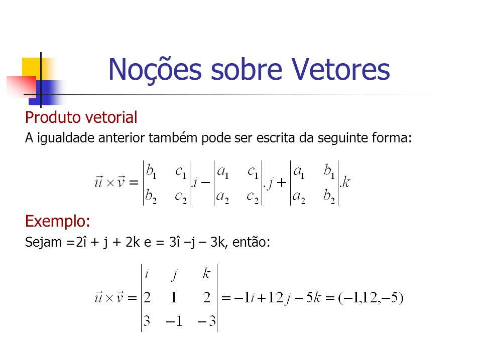Noções sobre Vetores Produto vetorial Exemplo: