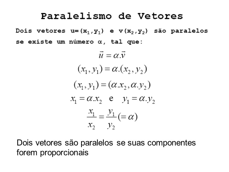 Dois vetores são paralelos se suas componentes forem proporcionais