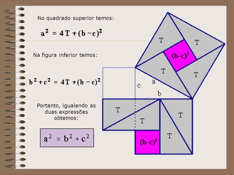 No quadrado superior temos: