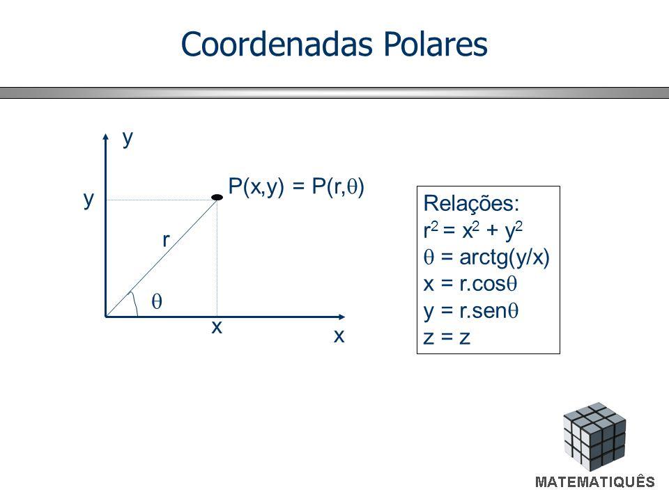 Coordenadas Polares y P(x,y) = P(r,q) Relações: r2 = x2 + y2