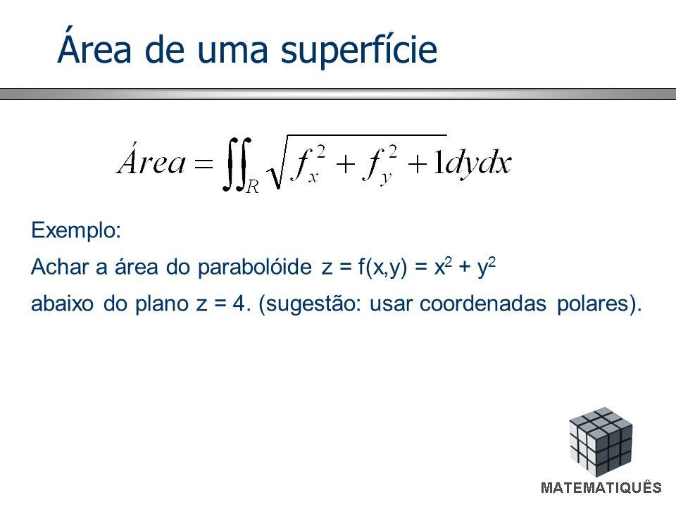 Área de uma superfície Exemplo: