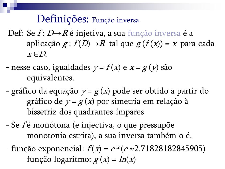 Definições: Função inversa