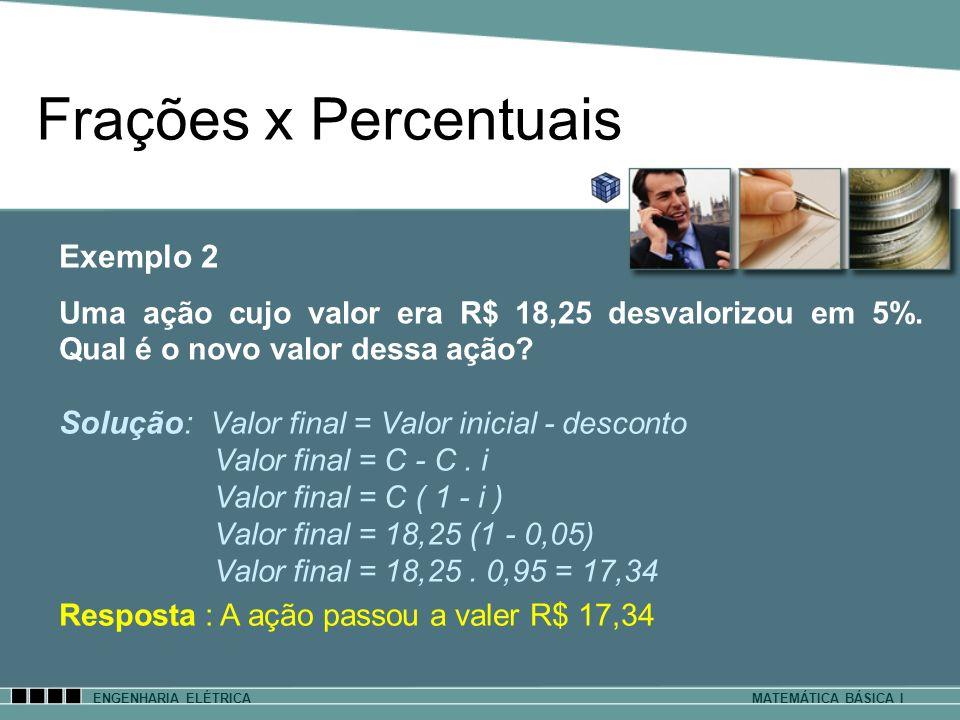 Frações x Percentuais Exemplo 2