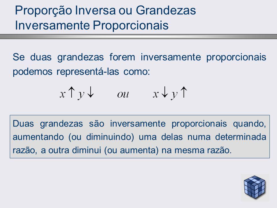 Proporção Inversa ou Grandezas Inversamente Proporcionais
