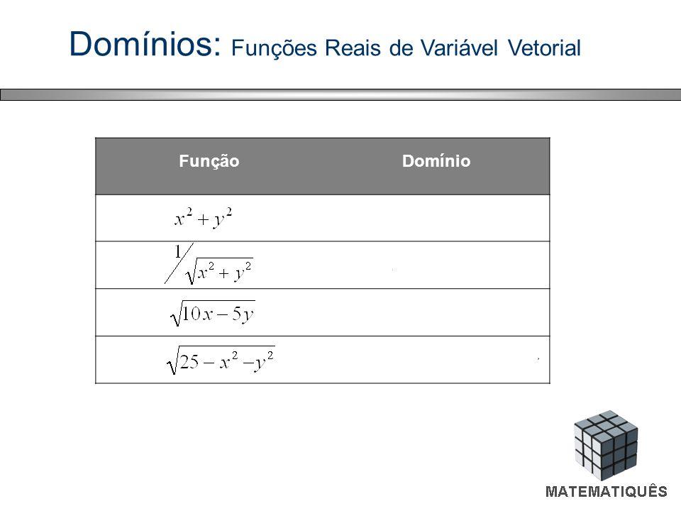 Domínios: Funções Reais de Variável Vetorial