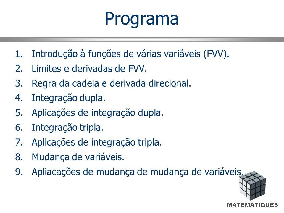 Programa Introdução à funções de várias variáveis (FVV).