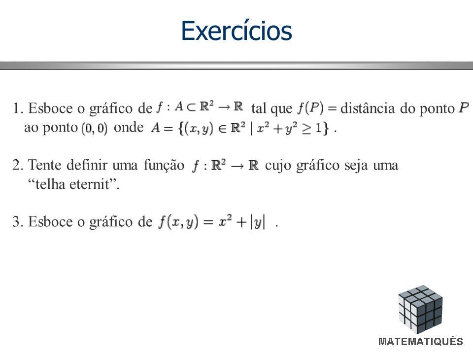 Exercícios Esboce o gráfico de tal que distância do ponto