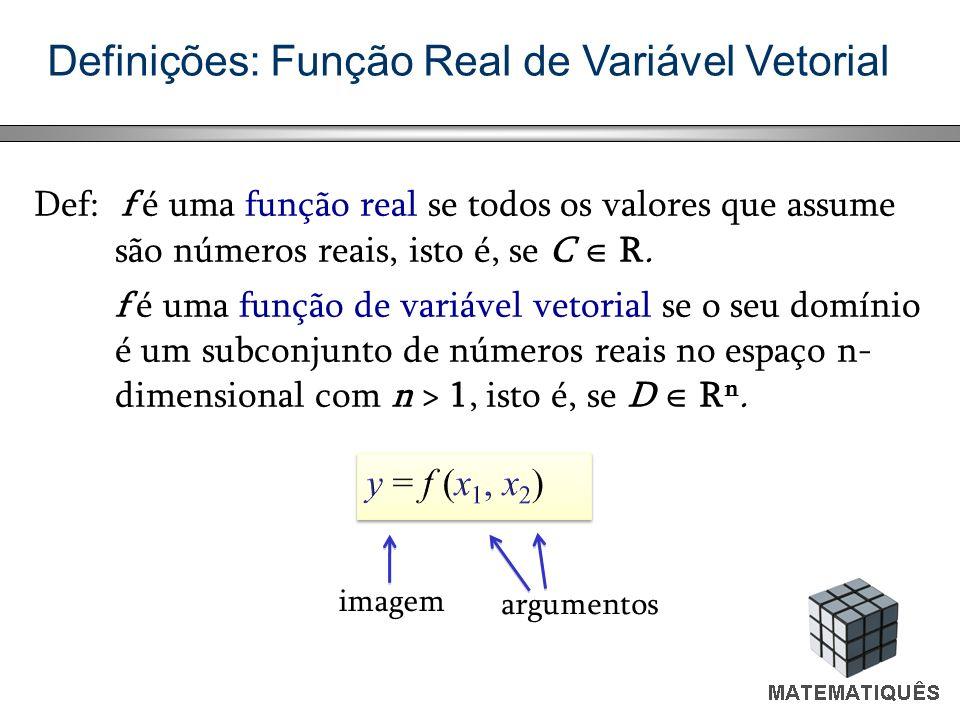 Definições: Função Real de Variável Vetorial