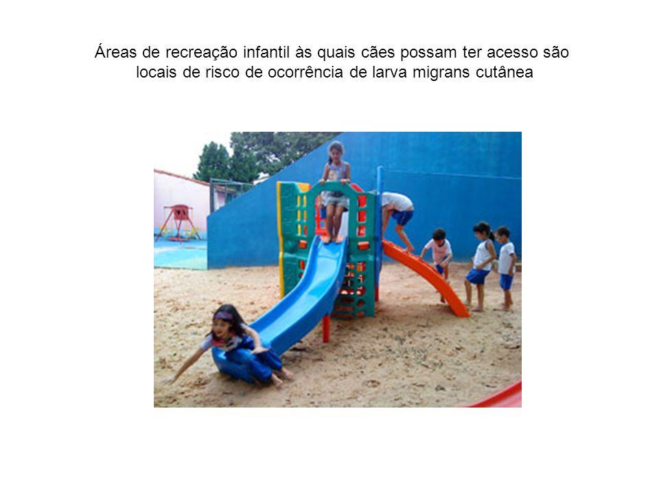 Áreas de recreação infantil às quais cães possam ter acesso são