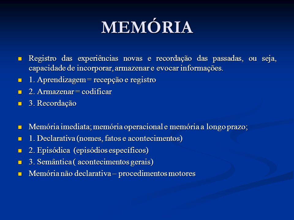 MEMÓRIARegistro das experiências novas e recordação das passadas, ou seja, capacidade de incorporar, armazenar e evocar informações.