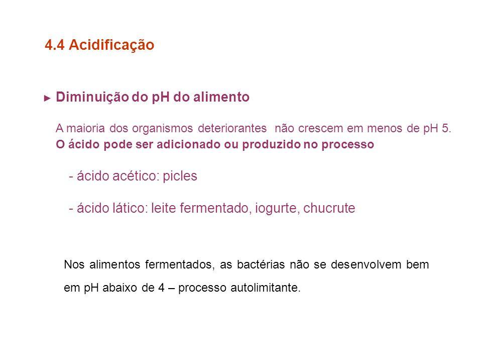 4.4 Acidificação O ácido pode ser adicionado ou produzido no processo