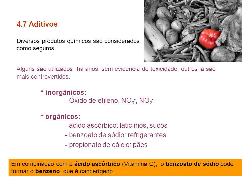 4.7 Aditivos * inorgânicos: - Óxido de etileno, NO3-, NO2-
