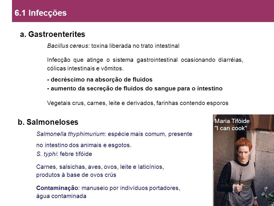 6.1 Infecções a. Gastroenterites b. Salmoneloses