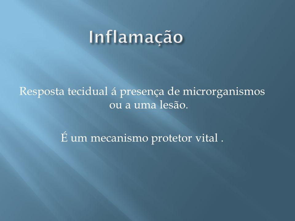 Inflamação Resposta tecidual á presença de microrganismos ou a uma lesão.