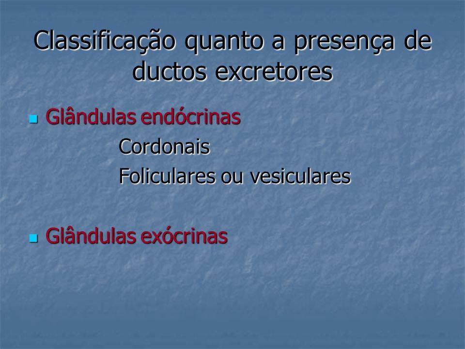 Classificação quanto a presença de ductos excretores