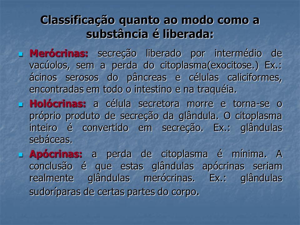 Classificação quanto ao modo como a substância é liberada: