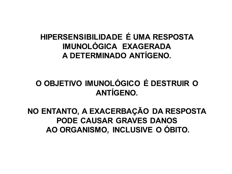 HIPERSENSIBILIDADE É UMA RESPOSTA IMUNOLÓGICA EXAGERADA
