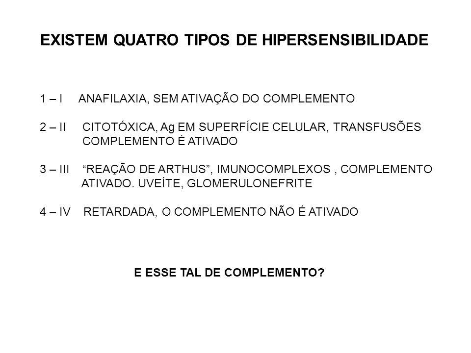 EXISTEM QUATRO TIPOS DE HIPERSENSIBILIDADE