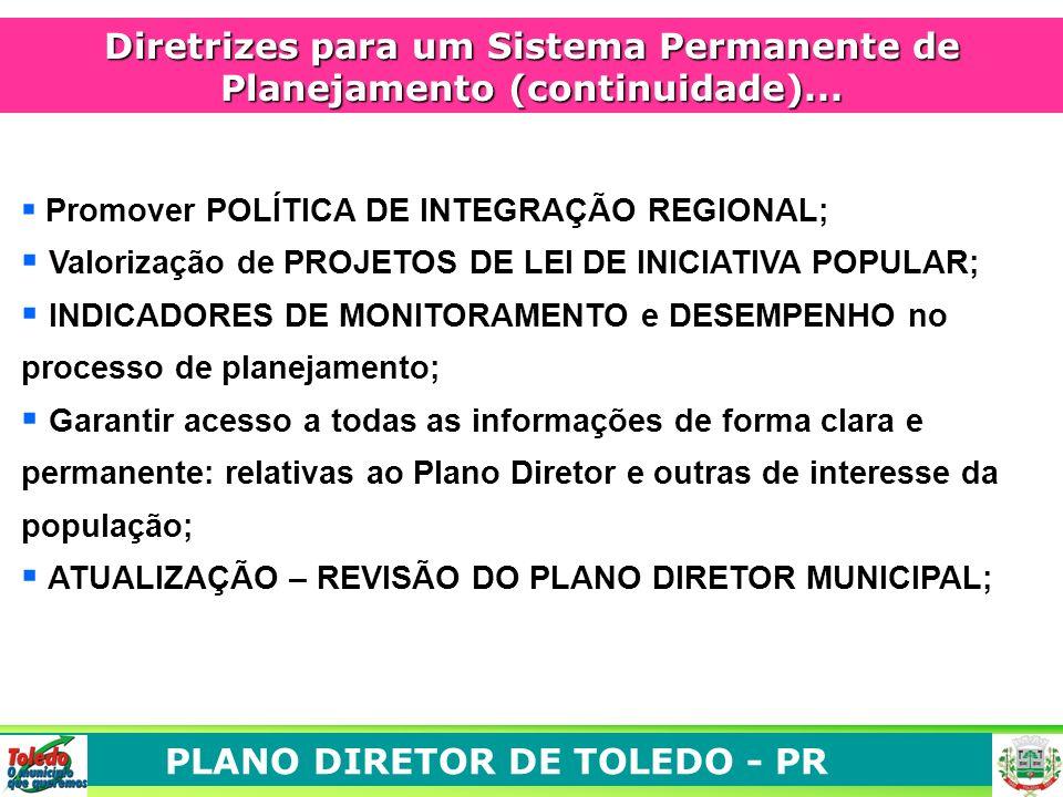 Diretrizes para um Sistema Permanente de Planejamento (continuidade)...