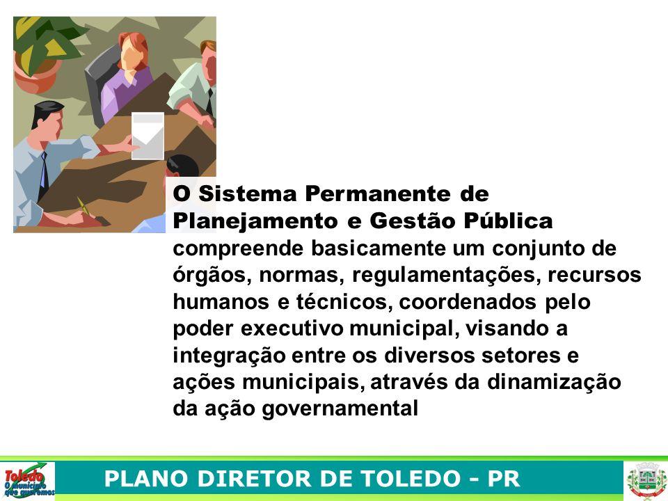 O Sistema Permanente de Planejamento e Gestão Pública compreende basicamente um conjunto de órgãos, normas, regulamentações, recursos humanos e técnicos, coordenados pelo poder executivo municipal, visando a integração entre os diversos setores e ações municipais, através da dinamização da ação governamental