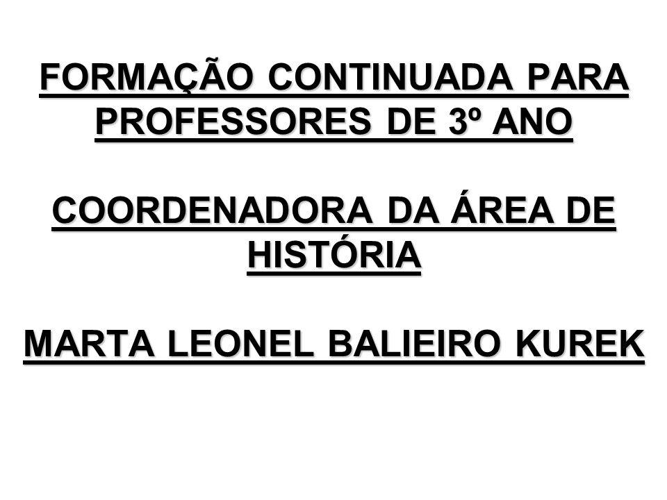 FORMAÇÃO CONTINUADA PARA PROFESSORES DE 3º ANO COORDENADORA DA ÁREA DE HISTÓRIA MARTA LEONEL BALIEIRO KUREK