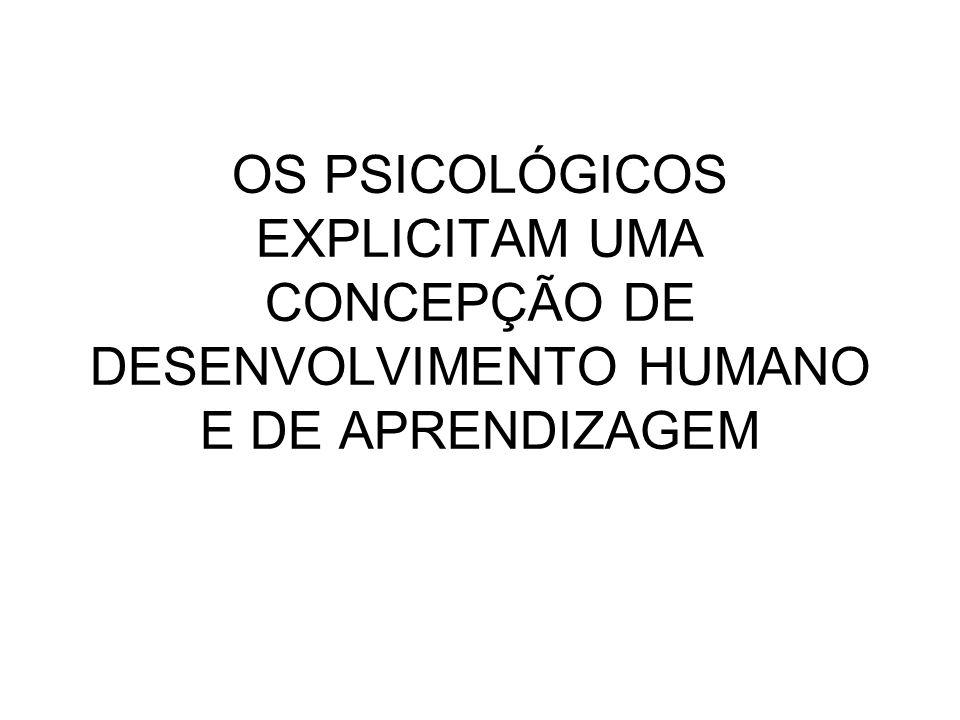 OS PSICOLÓGICOS EXPLICITAM UMA CONCEPÇÃO DE DESENVOLVIMENTO HUMANO E DE APRENDIZAGEM