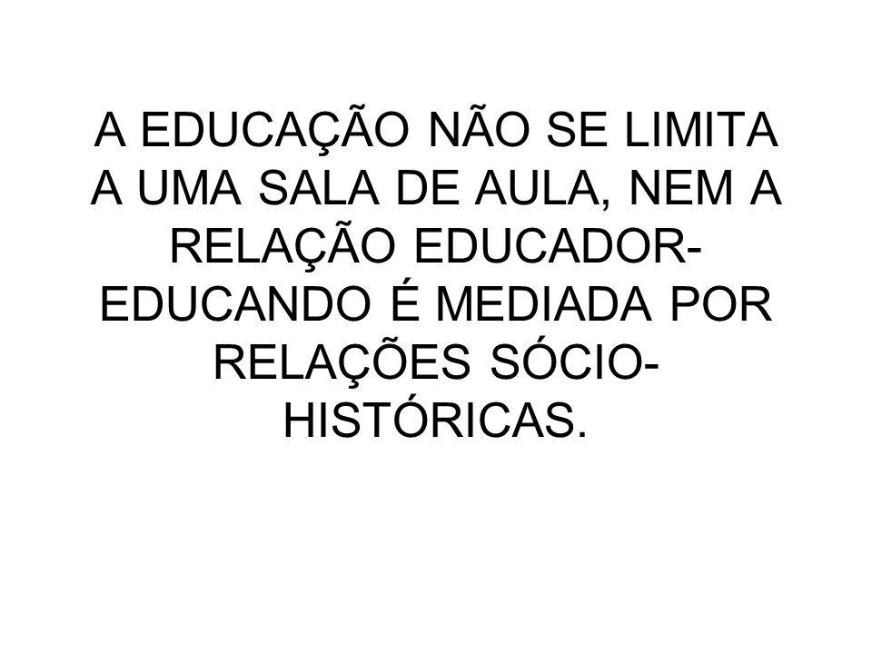 A EDUCAÇÃO NÃO SE LIMITA A UMA SALA DE AULA, NEM A RELAÇÃO EDUCADOR-EDUCANDO É MEDIADA POR RELAÇÕES SÓCIO-HISTÓRICAS.