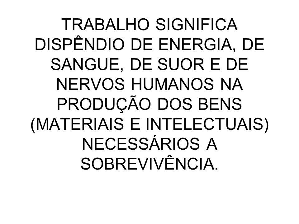 TRABALHO SIGNIFICA DISPÊNDIO DE ENERGIA, DE SANGUE, DE SUOR E DE NERVOS HUMANOS NA PRODUÇÃO DOS BENS (MATERIAIS E INTELECTUAIS) NECESSÁRIOS A SOBREVIVÊNCIA.