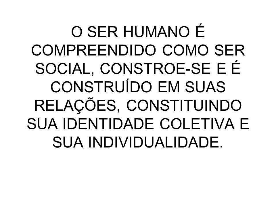 O SER HUMANO É COMPREENDIDO COMO SER SOCIAL, CONSTROE-SE E É CONSTRUÍDO EM SUAS RELAÇÕES, CONSTITUINDO SUA IDENTIDADE COLETIVA E SUA INDIVIDUALIDADE.