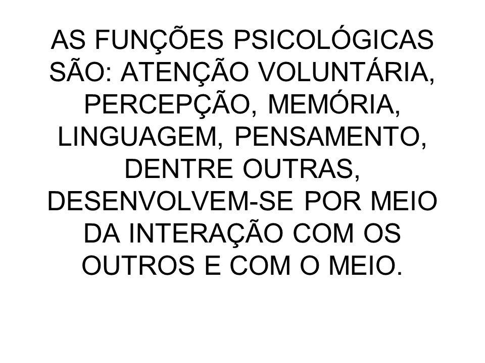 AS FUNÇÕES PSICOLÓGICAS SÃO: ATENÇÃO VOLUNTÁRIA, PERCEPÇÃO, MEMÓRIA, LINGUAGEM, PENSAMENTO, DENTRE OUTRAS, DESENVOLVEM-SE POR MEIO DA INTERAÇÃO COM OS OUTROS E COM O MEIO.
