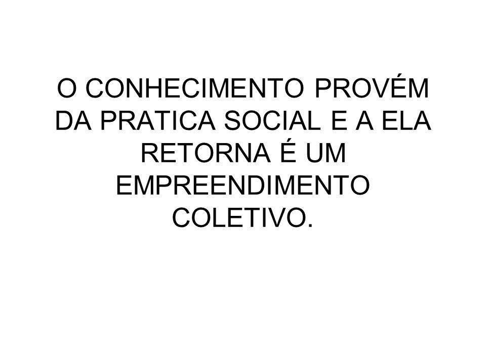 O CONHECIMENTO PROVÉM DA PRATICA SOCIAL E A ELA RETORNA É UM EMPREENDIMENTO COLETIVO.