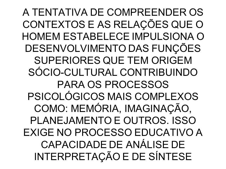 A TENTATIVA DE COMPREENDER OS CONTEXTOS E AS RELAÇÕES QUE O HOMEM ESTABELECE IMPULSIONA O DESENVOLVIMENTO DAS FUNÇÕES SUPERIORES QUE TEM ORIGEM SÓCIO-CULTURAL CONTRIBUINDO PARA OS PROCESSOS PSICOLÓGICOS MAIS COMPLEXOS COMO: MEMÓRIA, IMAGINAÇÃO, PLANEJAMENTO E OUTROS.