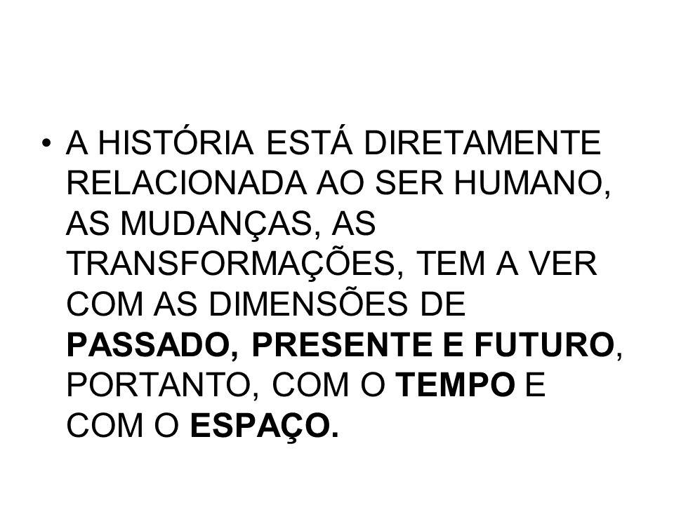 A HISTÓRIA ESTÁ DIRETAMENTE RELACIONADA AO SER HUMANO, AS MUDANÇAS, AS TRANSFORMAÇÕES, TEM A VER COM AS DIMENSÕES DE PASSADO, PRESENTE E FUTURO, PORTANTO, COM O TEMPO E COM O ESPAÇO.