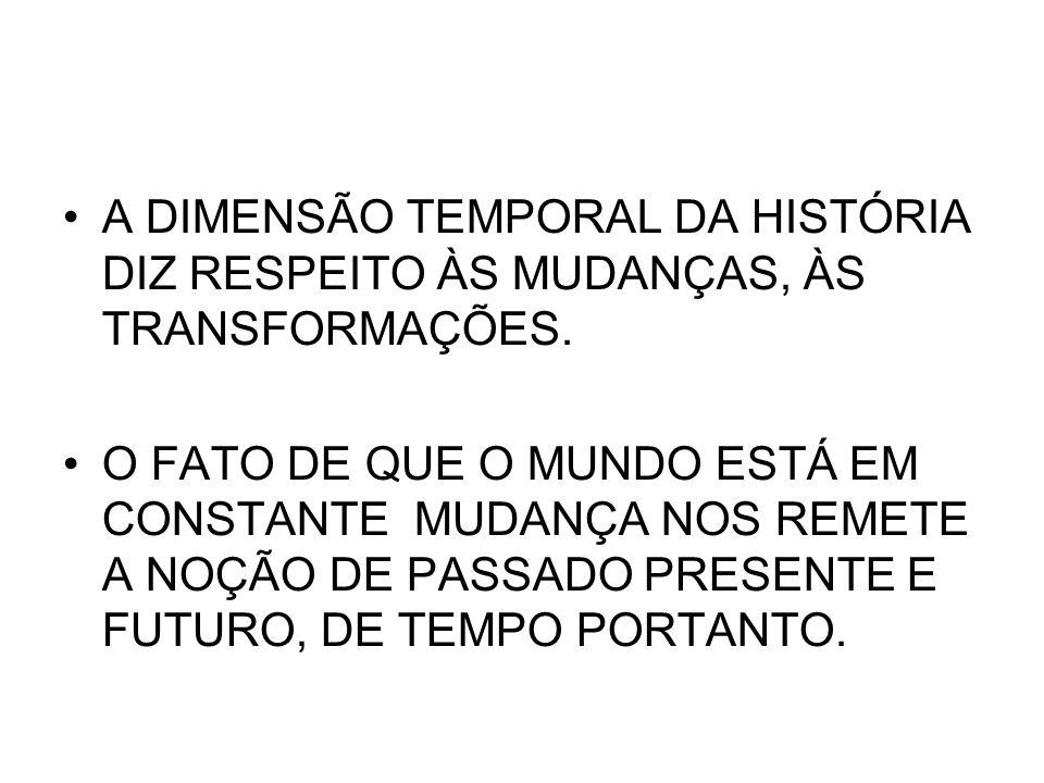 A DIMENSÃO TEMPORAL DA HISTÓRIA DIZ RESPEITO ÀS MUDANÇAS, ÀS TRANSFORMAÇÕES.