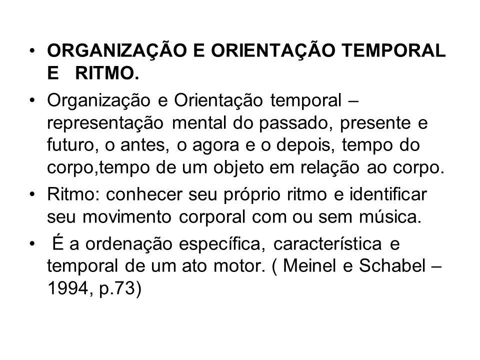 ORGANIZAÇÃO E ORIENTAÇÃO TEMPORAL E RITMO.