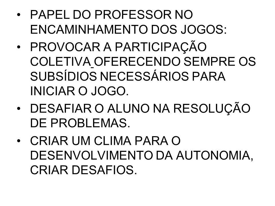 PAPEL DO PROFESSOR NO ENCAMINHAMENTO DOS JOGOS: