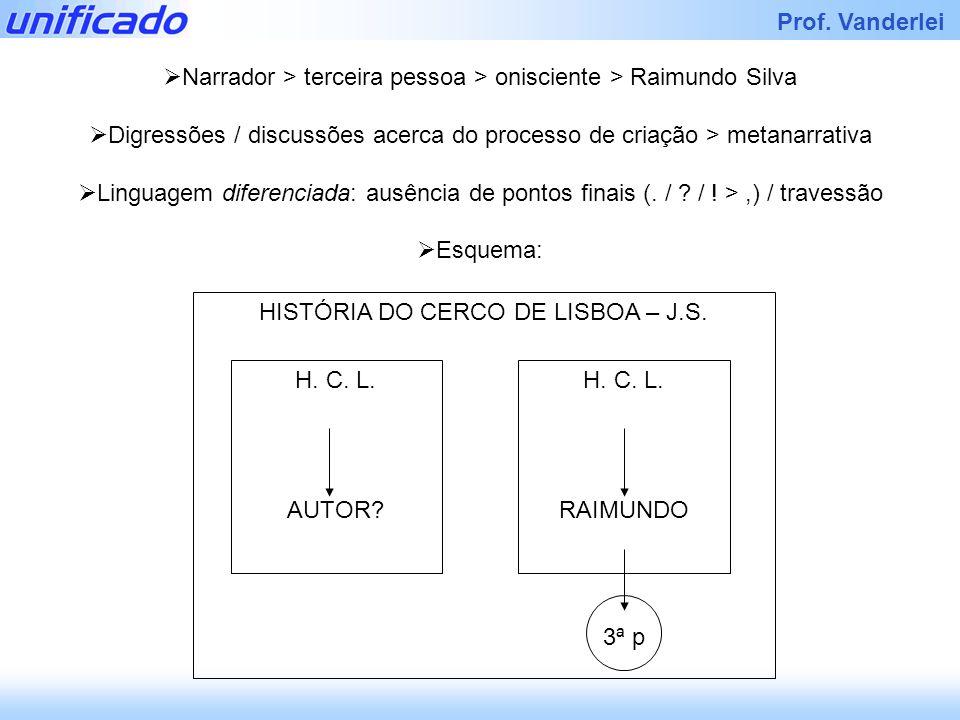 Narrador > terceira pessoa > onisciente > Raimundo Silva