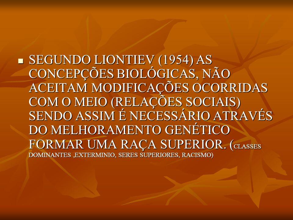 SEGUNDO LIONTIEV (1954) AS CONCEPÇÕES BIOLÓGICAS, NÃO ACEITAM MODIFICAÇÕES OCORRIDAS COM O MEIO (RELAÇÕES SOCIAIS) SENDO ASSIM É NECESSÁRIO ATRAVÉS DO MELHORAMENTO GENÉTICO FORMAR UMA RAÇA SUPERIOR.