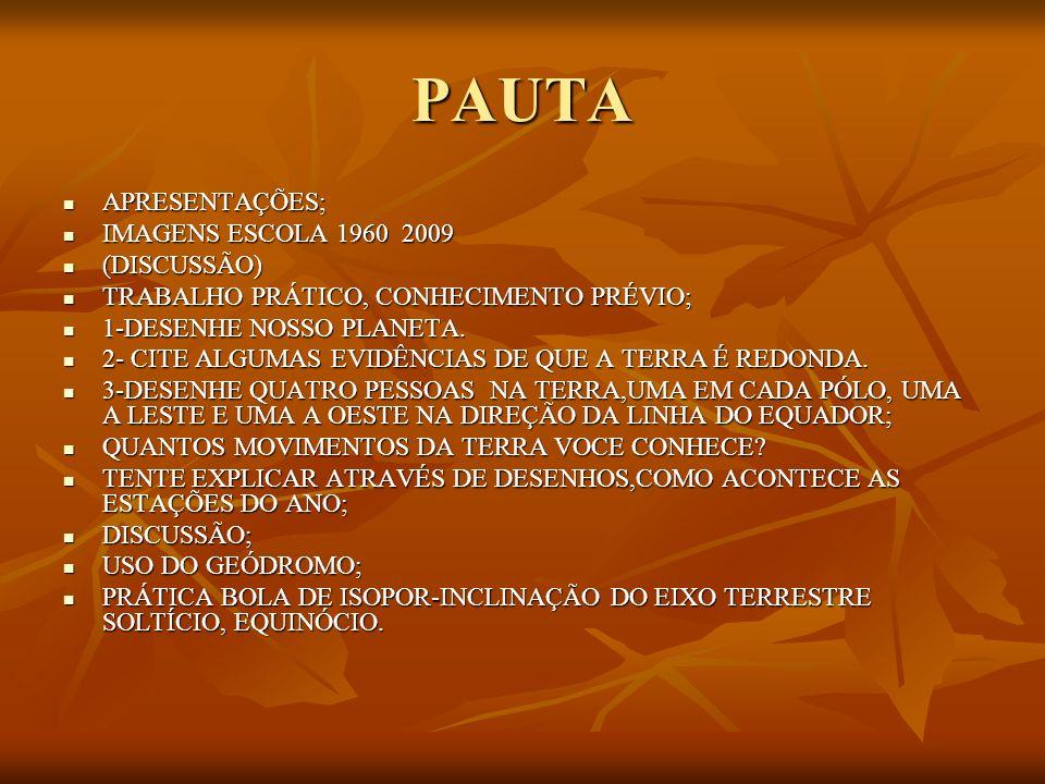 PAUTA APRESENTAÇÕES; IMAGENS ESCOLA 1960 2009 (DISCUSSÃO)