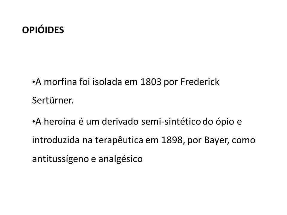 OPIÓIDES A morfina foi isolada em 1803 por Frederick Sertürner.