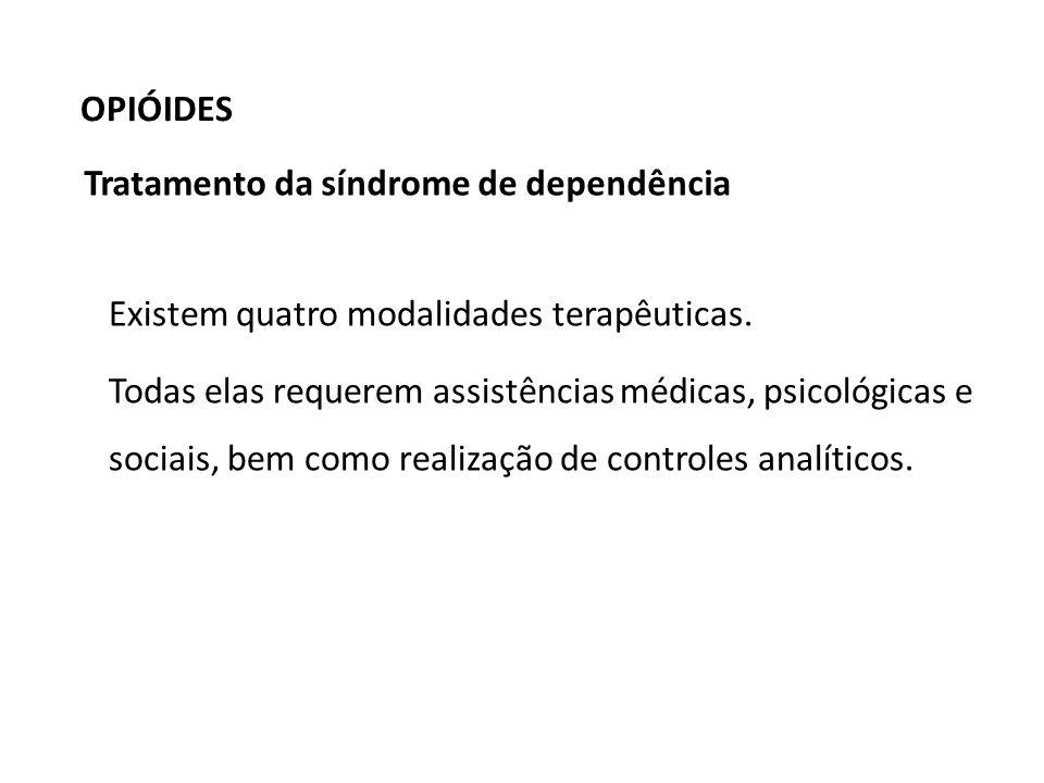 OPIÓIDESTratamento da síndrome de dependência. Existem quatro modalidades terapêuticas.