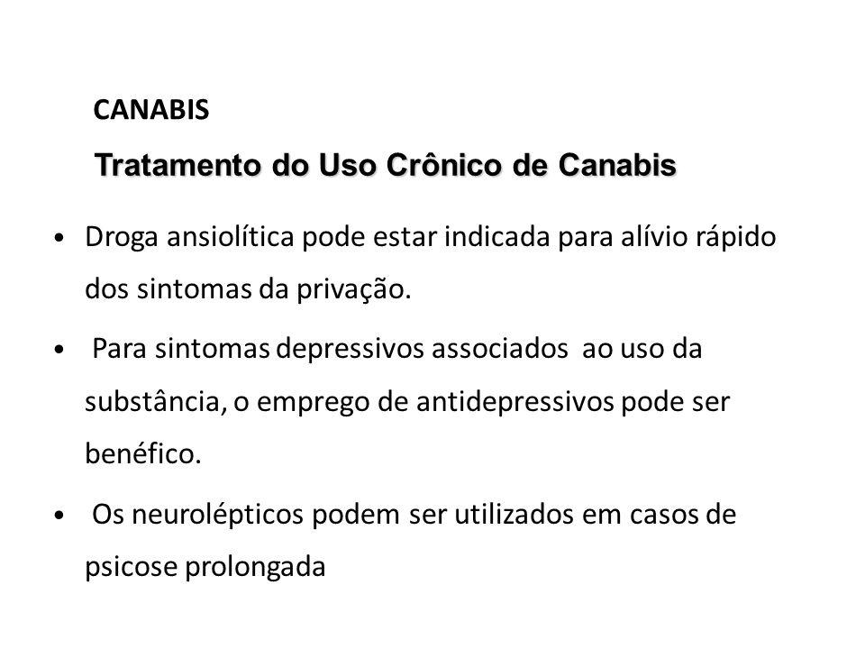 CANABIS Tratamento do Uso Crônico de Canabis. Droga ansiolítica pode estar indicada para alívio rápido dos sintomas da privação.